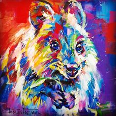 Quokka - Australian Marsupial Acrylic on Canvas by Jos Coufreur