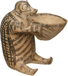 Zoomorphic vessel w/ shape of a small Bear or a Hedgehog? holding a bowl-terracotta-early Cycladic, Keros-Syros culture- ca.