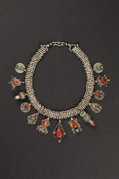 Azrar necklace Great Kabylia, Algeria Beginning 1900 Silver, coral, cloisonné enamels Ethnic Jewels 0032