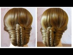 Simple and fast hairstyle (braid fishtail) ☘ Easy bun to make on yourself - YouTube