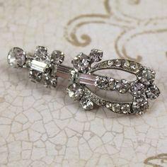 Vintage Art Deco Rhinestone Silver Brooch by scdvintage on Etsy, $16.00