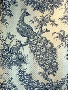 Peacock Toile Wallpaper Vintage Retro Peacock Art Poster Print Postcard ☮~ღ~*~*✿⊱ レ o √ 乇 ! Peacock Wallpaper, Toile Wallpaper, Print Wallpaper, Hall Wallpaper, Textile Patterns, Print Patterns, Textiles, Peacock Art, Animals