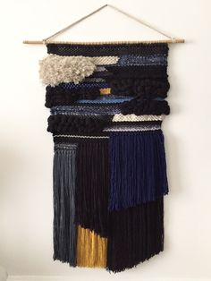 Large wall weaving (45cmx91cm) handmade with natural wall, cotton, rope... On a bamboo stick