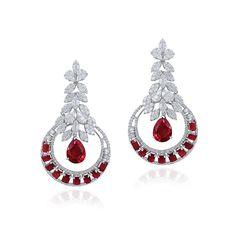 Rubies and diamonds set in gold earrings, Varuna D Jani.