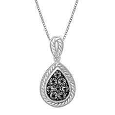 Teardrop Pendant Necklace with Black Diamonds in Sterling Silver -- Click image to review more details.