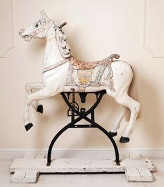 Rare antique carousel horse on original rocker Victorian Dollhouse, Modern Dollhouse, Antiques Online, Selling Antiques, Antique Toys, Rare Antique, Antique Rocking Horse, Rocking Horses, Carosel Horse