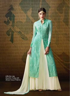 Georgette Cream and Sea Green Colored Designer Palazzo Salwar Suit