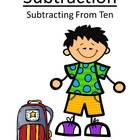 Quick and Easy to Make - Subtracting From Ten Center Game with a Cute Kids at School Theme  This math resource includes: Four center game pages in ...