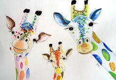 Watercolor Paintings Of Animals, Giraffe Painting, Giraffe Art, Elephant Art, Animal Paintings, Autism Crafts, Giraffe Illustration, Art Fantaisiste, Colorful Animals