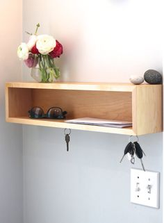 Floating Entryway Organizer with Magnetic Key Hooks by KrovelMade