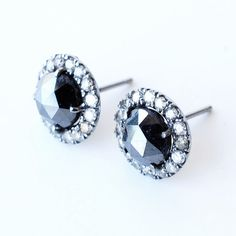 Rose Cut Black Diamond Stud Earrings. OBSESSED with black diamonds right now!!