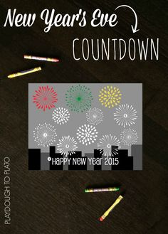 Color a firework each hour until midnight. Free New Year's Eve countdown coloring sheet for kids.