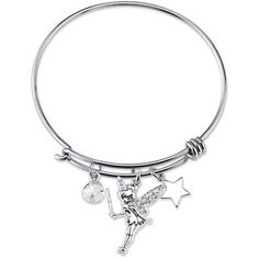 Disney Womens Tinker Bell Silver Over Brass Charm Bracelet - Size One... ($18) ❤ liked on Polyvore featuring jewelry, bracelets, silver jewelry, silver charm bracelet, disney jewelry, silver bangles and brass jewelry