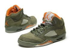 Air Jordan 5 in Olive/Orange