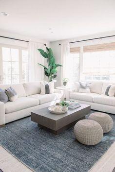 Modern White Living Room, Coastal Living Rooms, White Rooms, Home Living Room, Interior Design Living Room, Living Room Designs, Small Living, Kitchen Living, Coastal Cottage