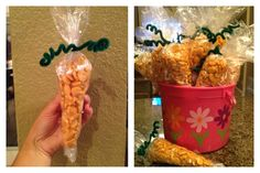 Bucket full of Goldfish Cracker Carrots!Great Easter idea for the kiddos at school. . Healthier then all that candy. All you need is clean plastic baggies, tape, green pipe cleaners and of course Lots of goldfish crackers. Mold as you pour, tape and close off with pipe cleaner! Easy enough. All You Need Is, Goldfish Crackers, Plastic Buckets, Pipe Cleaners, Easter Ideas, Carrots, Tape, Craft Ideas, Candy
