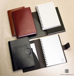 Premium MaderaWrap journals feature textured, vinyl covers in six rich hues and inside pockets for maximum function.