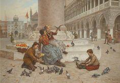Pigeons of Venice - Antonio Ermolao Paoletti (1834–1912) Haworth Art Gallery.
