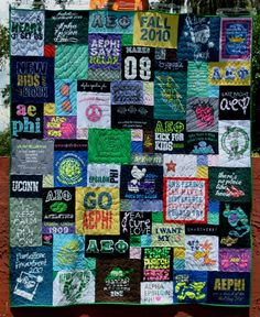 Sorority/college quilt recently completed by Too Cool T-shirt Quilts in Clearwater FL