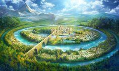 Background Test by CiCiY on DeviantArt Fantasy Kunst, Fantasy City, Fantasy Places, Fantasy World, Fantasy Art Landscapes, Fantasy Landscape, Landscape Art, Fantasy Concept Art, Fantasy Artwork