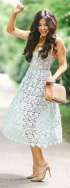 #summer ##style #outfitideas |  Light Blue Lace Dress