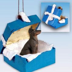 Doberman Pinscher Red Dog Blue Gift Box Ornament