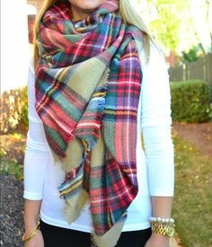 plaid blanket scarf with white t shirt and black jeans