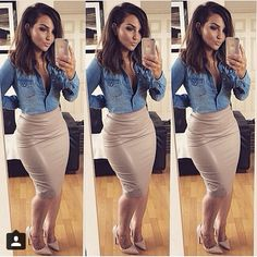 37 Most Fashionable Outfit Ideas Plus Size Women's Leith High Side Slit Pencil Skirt ideas for women in ideas for women over 40 casual Classy Outfits, Chic Outfits, Spring Outfits, Fashion Outfits, Skirt Fashion, Fashion Shirts, Fashion Tips, Fashion Trends, Fashion Boots