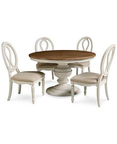 Sag Harbor Round Dining Furniture, 5 Pc. Set (Expandable Round Dining  Pedestal Table U0026 4 Side Chairs)