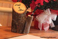 Rustic Guest Book Pen Holder Custom Names Initials Dates Personalized Rustic Wedding Decor. $46.00, via Etsy.