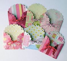 Scalloped envelopes - scalloped circles - secure with twine. Embellishments for art journals, ATCs, ACEOs, scrapbooking enveloppe mini Diy Paper, Paper Crafts, Candy Cards, Scrapbook Embellishments, Scrapbook Cards, Scrapbook Photos, Scrapbook Layouts, Diy Cards, Homemade Cards