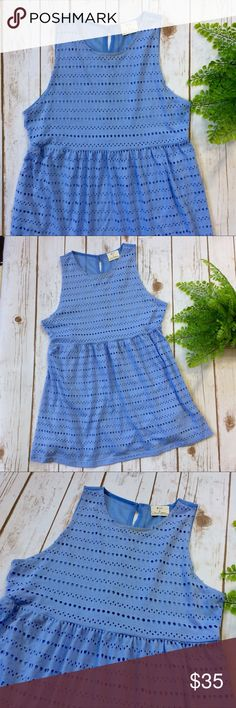 """Pins & Needles Eyelet Baby Doll Tank Very pretty baby blue tank with a higher waist. Would be perfect paired with a nude bra or a colorful Bralette. The back is sheer fabric with a dainty Button Up. In great condition! 65% polyester, 35% rayon. Bust: 32"""" Shoulder to hem: 27"""" Urban Outfitters Tops Tank Tops"""