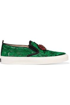 Gucci - Crystal-embellished Brocade Slip-on Sneakers - Green - IT41.5