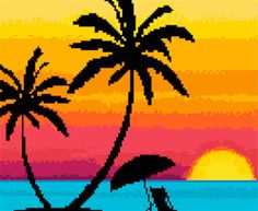 Hawaii Sunset Counted Cross Stitch Pattern PDF by ArtbyMariana