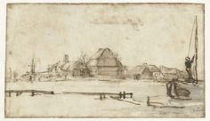 Winter View with a Waterway, Cottages and Two Boats, Rembrandt van Rijn, c. Boat Sketch, Rembrandt Drawings, Amsterdam, Great Works Of Art, Baroque Art, Dutch Painters, Weird Pictures, Gravure, Drawing Techniques