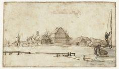 Wintergezicht met een vaart, huizen en twee schepen, Rembrandt Harmensz. van Rijn, 1648 - 1652