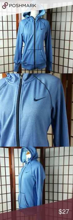 """Blue NIKE THERMA-FIT Zip Up Hoodie Jacket Pre-owned gently worn  Nike size small Nike THERMA-FIT  Zip up Hoodie Jacket Made of polyester and spandex  Measurements approximate  Pit to pit 19"""" Shoulder to hem 25"""" Nike Jackets & Coats"""