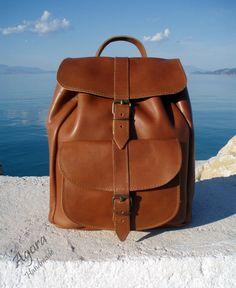 Leather Backpack Leather rucksack Handndmade par SandalsAgora