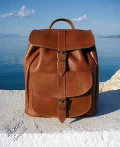 Leather Backpack - Leather rucksack Handmade Tobacco color Leather backpack…                                                                                                                                                                                 More