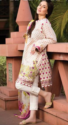 Buy Off-White/Pink Embroidered Cotton Lawn Salwar Kameez by Cresent Lawn Collection Pakistani Formal Dresses, Pakistani Fashion Casual, Pakistani Dress Design, Pakistani Outfits, Indian Outfits, Indian Dresses, Indian Style Clothes, Kurta Designs Women, Salwar Designs