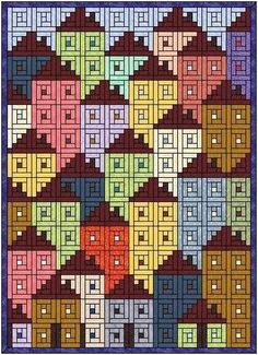 Free Log Cabin Quilt Patterns Using Jelly Rolls Log Cabin Quilts Patterns Log Cabin Quilt Pattern With Jelly Roll Log Cabin Neighbourhood Pattern Log Cabin Quilts, Patchwork Log Cabin, Patchwork Quilt, Log Cabin Quilt Pattern, Log Cabins, Patchwork Patterns, Quilting Patterns, Quilt Block Patterns 12 Inch, House Quilt Patterns