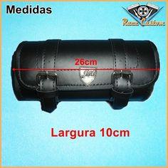 Porta Ferramenta Cilindrico Couro Preto Liso 1,5 Litros  - Race Custom