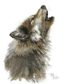 Wolf watercolor painting. Archival print. Animal watercolor Illustration. Black and Brown.