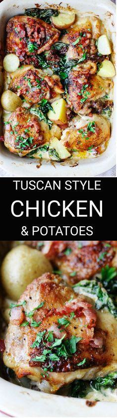 Tuscan Style Chicken and Potatoes is an extremely satisfying dish. Crispy chicken and potatoes with spinach, sun dried tomatoes and bacon bits, all smothered in a creamy Parmesan sauce.