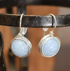 Aquamarine wire wrap post earrings, sky blue natural gemstone, March birthstone minimalist jewelry Wire Wrapped Earrings, Small Earrings, Stud Earrings, Etsy Handmade, Handmade Jewelry, Handmade Market, Handmade Accessories, Handmade Gifts, Birthday Gifts For Her