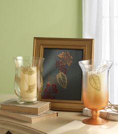 Metallic stenciled leaves make a great accent for fall home decor! #creativitymadesimple