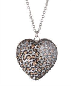 animal print heart locket