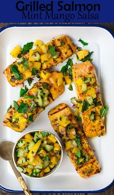 Easy Grilled Salmon Recipe | The Mediterranean Dish. Learn how to grill salmon perfectly every single time. Plus, the perfect salmon marinade with fresh herbs and Mediterranean spices. The fresh mango salsa on top is optional but so worth trying. Recipe from TheMediteraneanDish.com #salmon #grilledsalmon #mediterraneanfood #mediterraneandiet #glutenfreerecipes