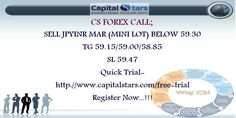 CS FOREX CALL; SELL JPYINR MAR (MINI LOT) BELOW 59.30  TG 59.15/59.00/58.85  SL 59.47 Quick Trial-http://www.capitalstars.com/free-trial Register Now...!!!