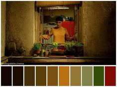on the colour scale what are the best colours to go with orange and brown Amelie, Movie Color Palette, Mood Board Interior, Cinema Colours, Color Scale, Cinematography, Good Things, Design, Painting